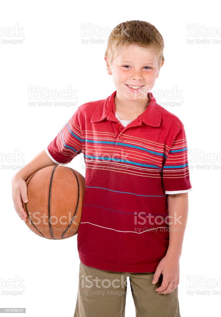 Young Boy with Basketball royalty-free stock photo
