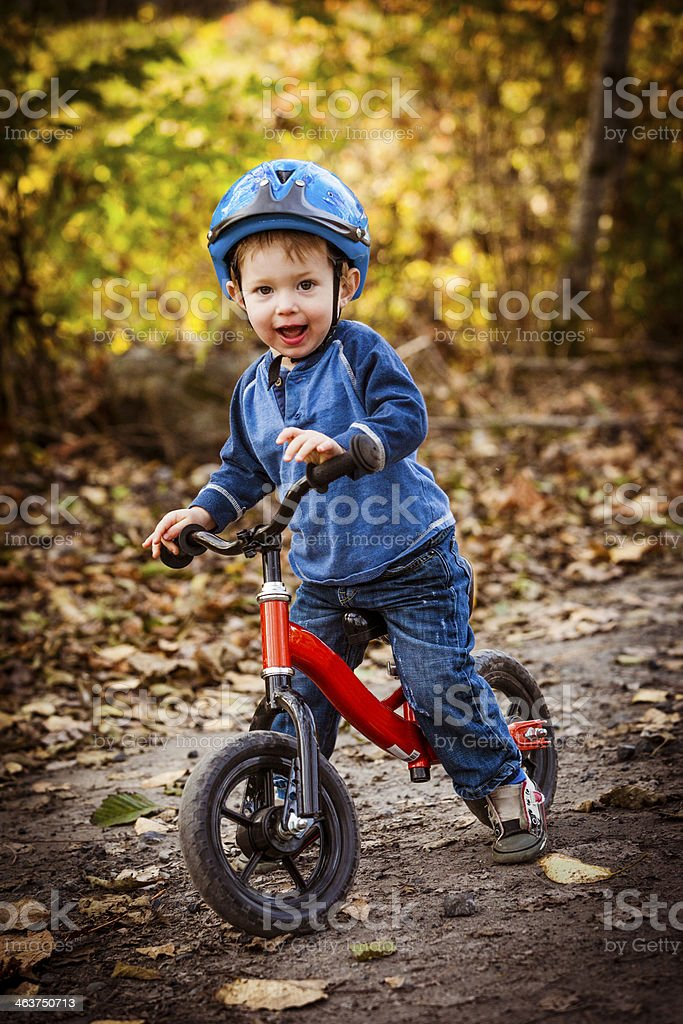 Young boy with his bike. royalty-free stock photo