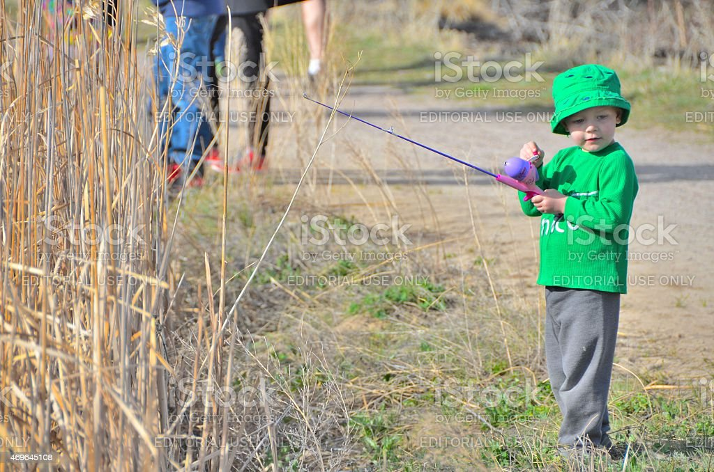 Young Boy with his first Fishing Pole stock photo