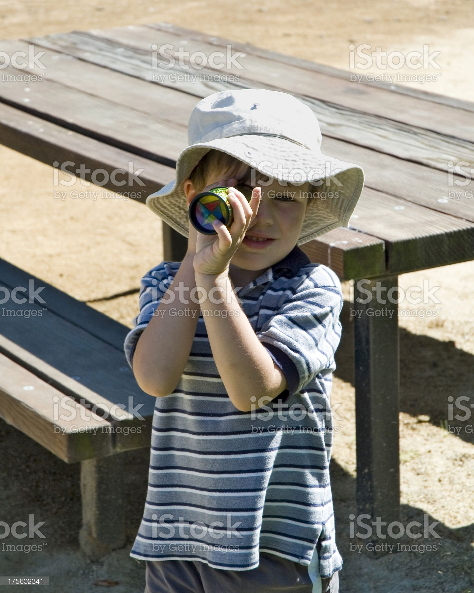 Young Boy With Kaleidoscope royalty-free stock photo
