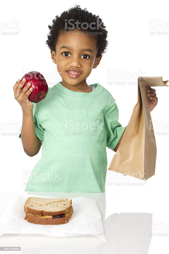 young boy with lunch royalty-free stock photo