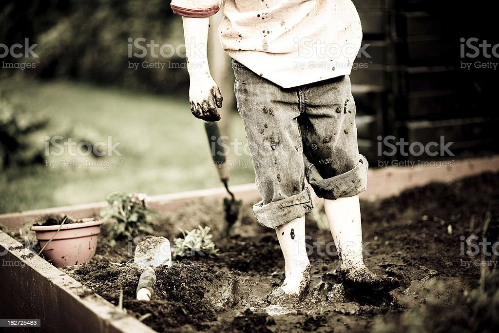 'Young boy with one mud-covered hand, plays in a garden' stock photo