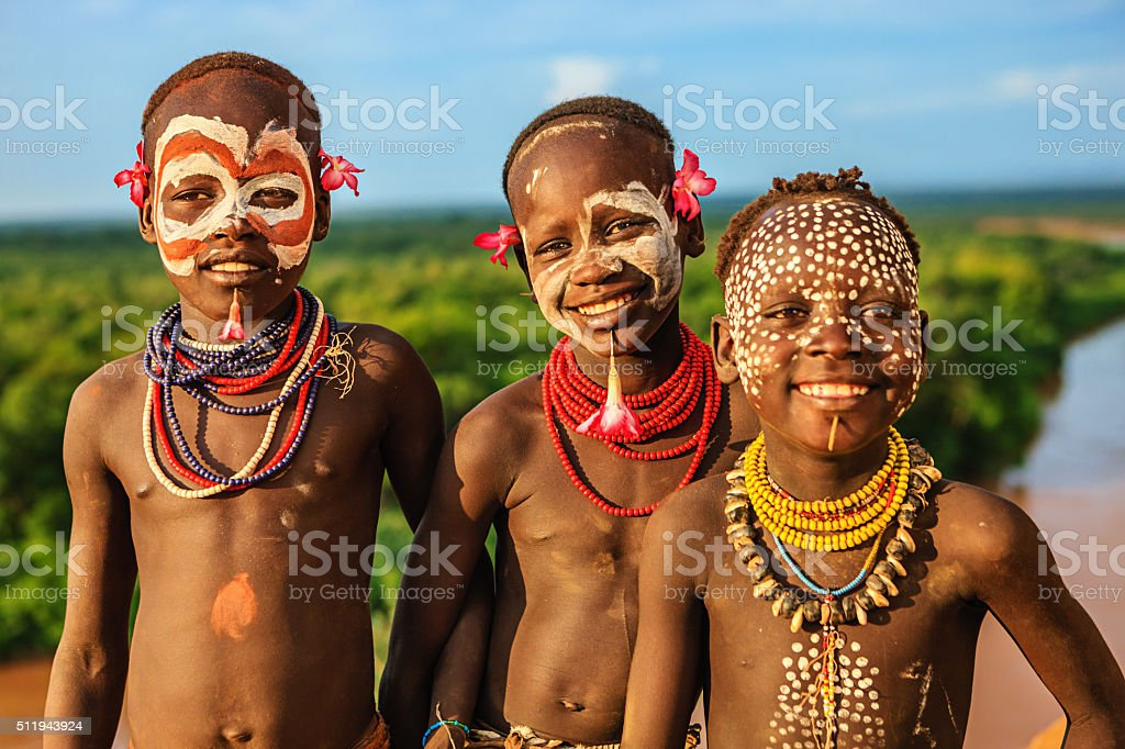 Young boys from Karo tribe, Ethiopia, Africa stock photo