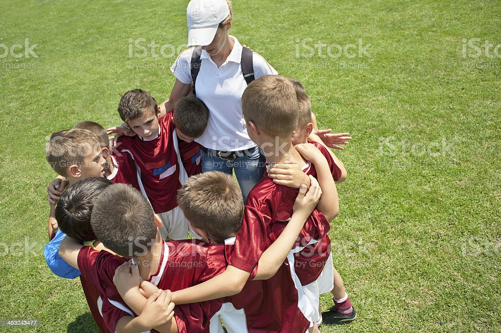 Young boys gather before a soccer game stock photo