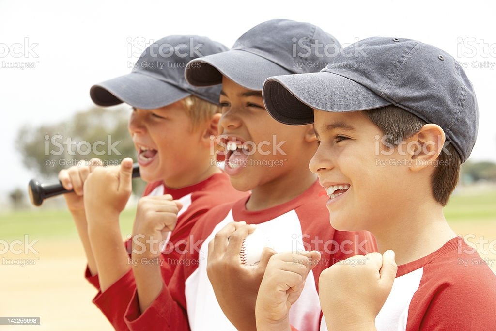 Young Boys In Baseball Team stock photo