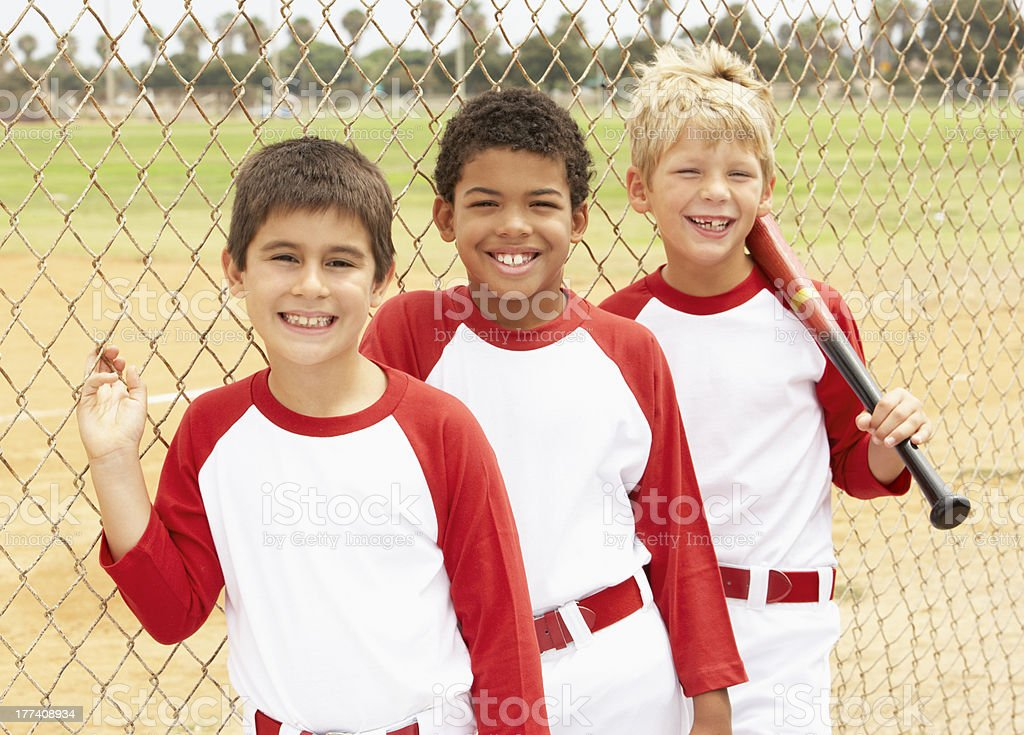 Young Boys In Baseball Team stock photo