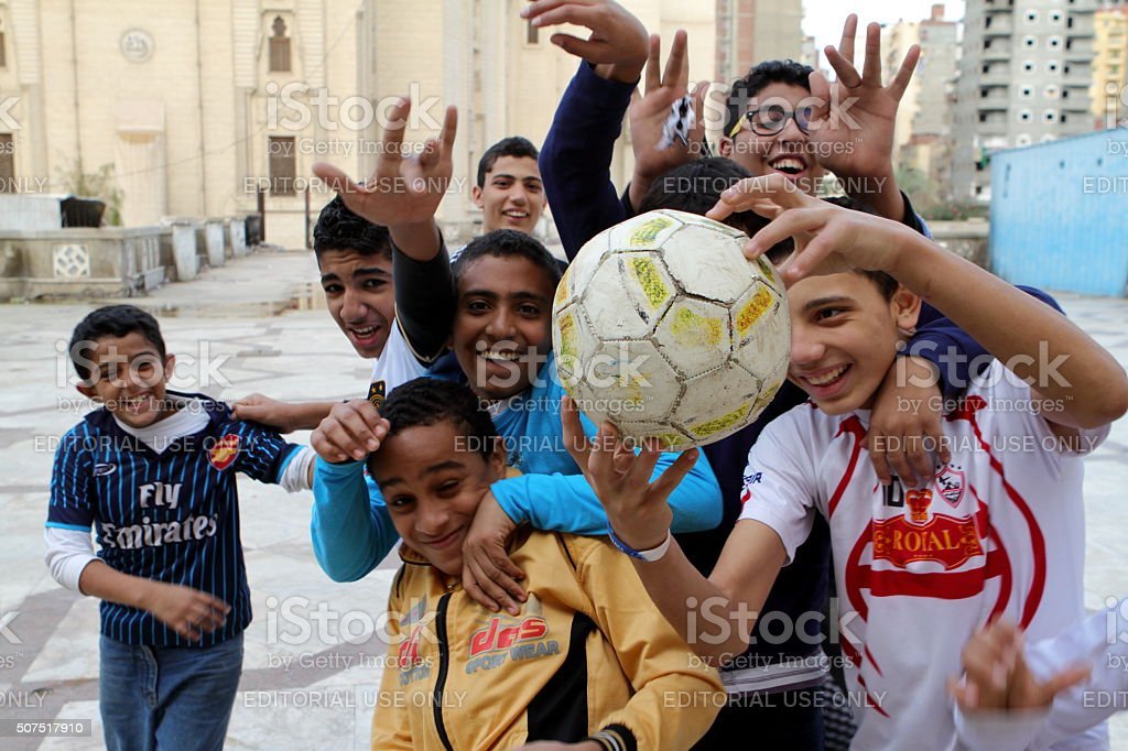 Young Boys playing Football in Egypt stock photo