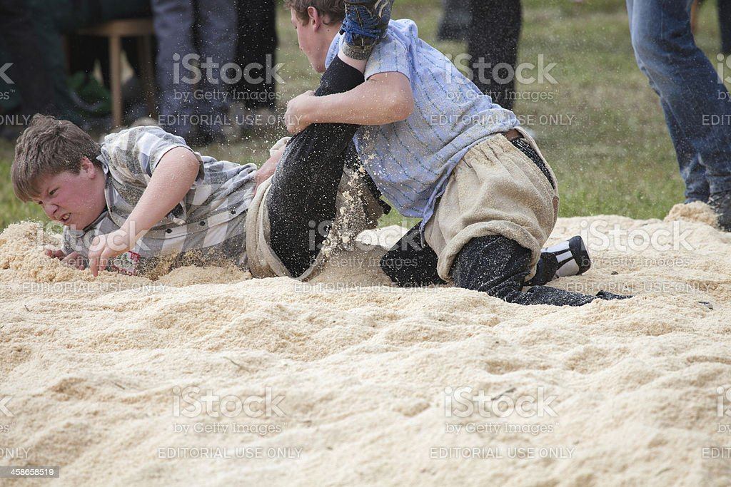 Young Boys Wrestling, Lenk, Bernese Oberland stock photo