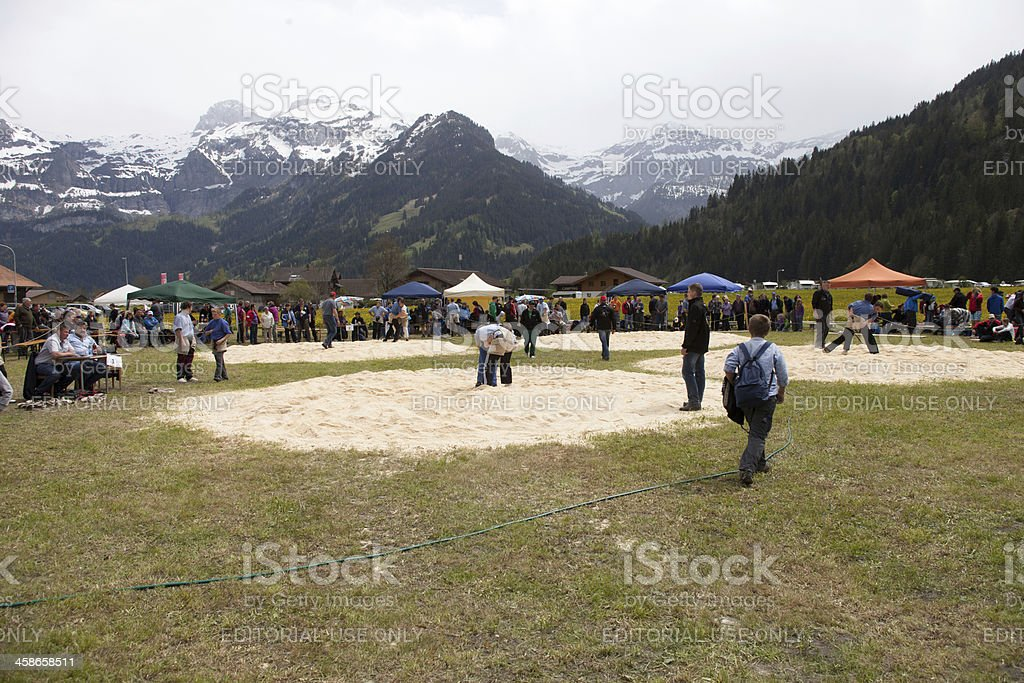 Young Boys Wrestling Match, Lenk, Bernese Oberland stock photo
