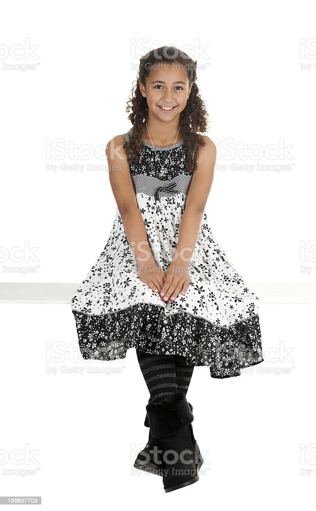 young brazilian girl in black and white dress royalty-free stock photo