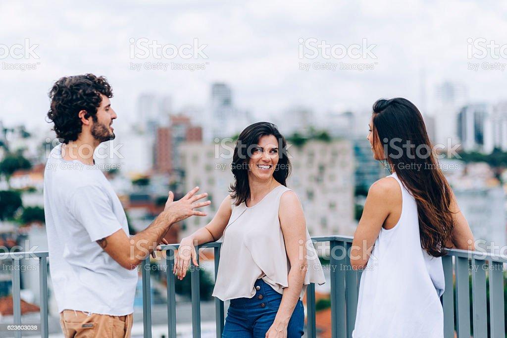 Young Brazilians chatting stock photo