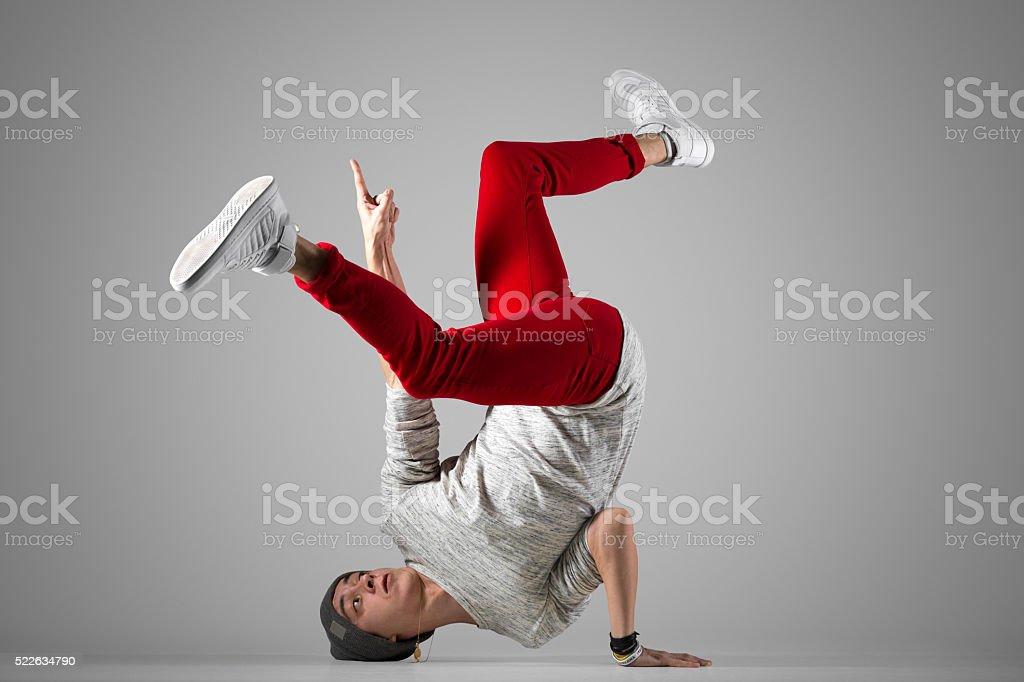 Young break-dancer practice stock photo