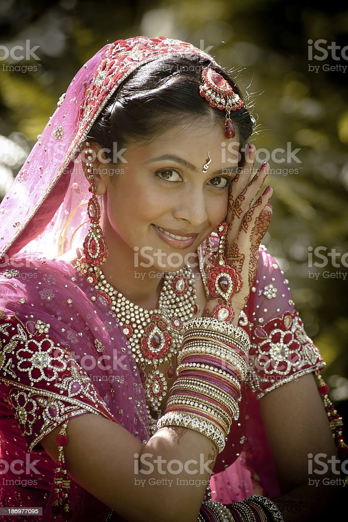 A young bride in traditional Indian dress stock photo