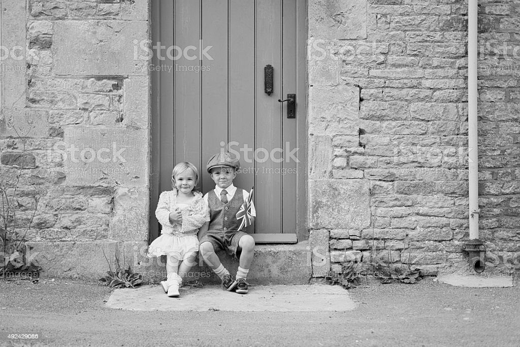 Young British Boy and Girl With Union Jack stock photo