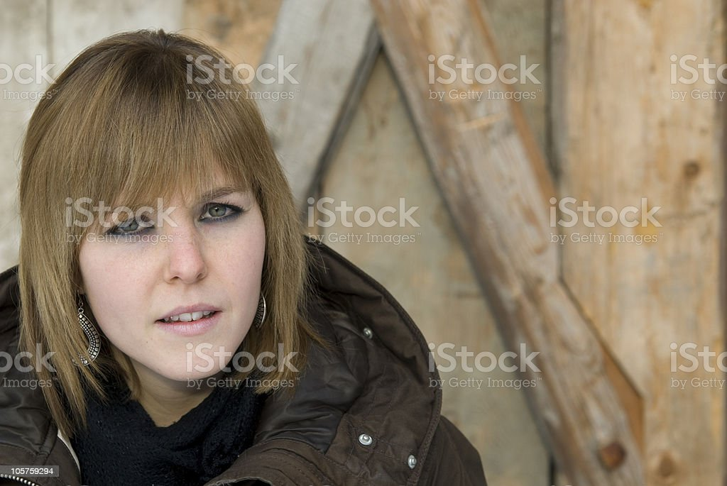 Young brown hair woman portrait stock photo