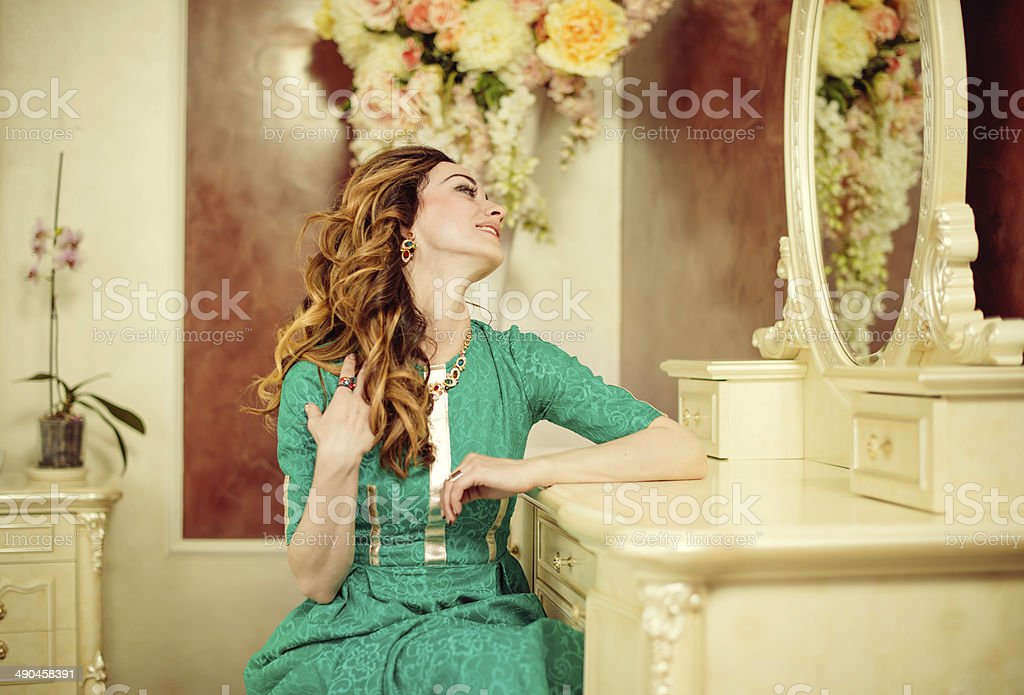 young brunet joy stock photo
