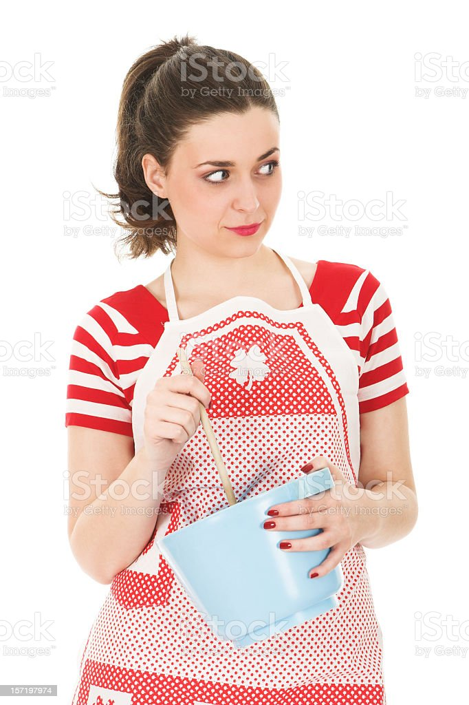 Young brunette cook stock photo