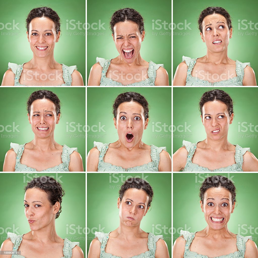Young brunette woman casual wear multiple expression set stock photo