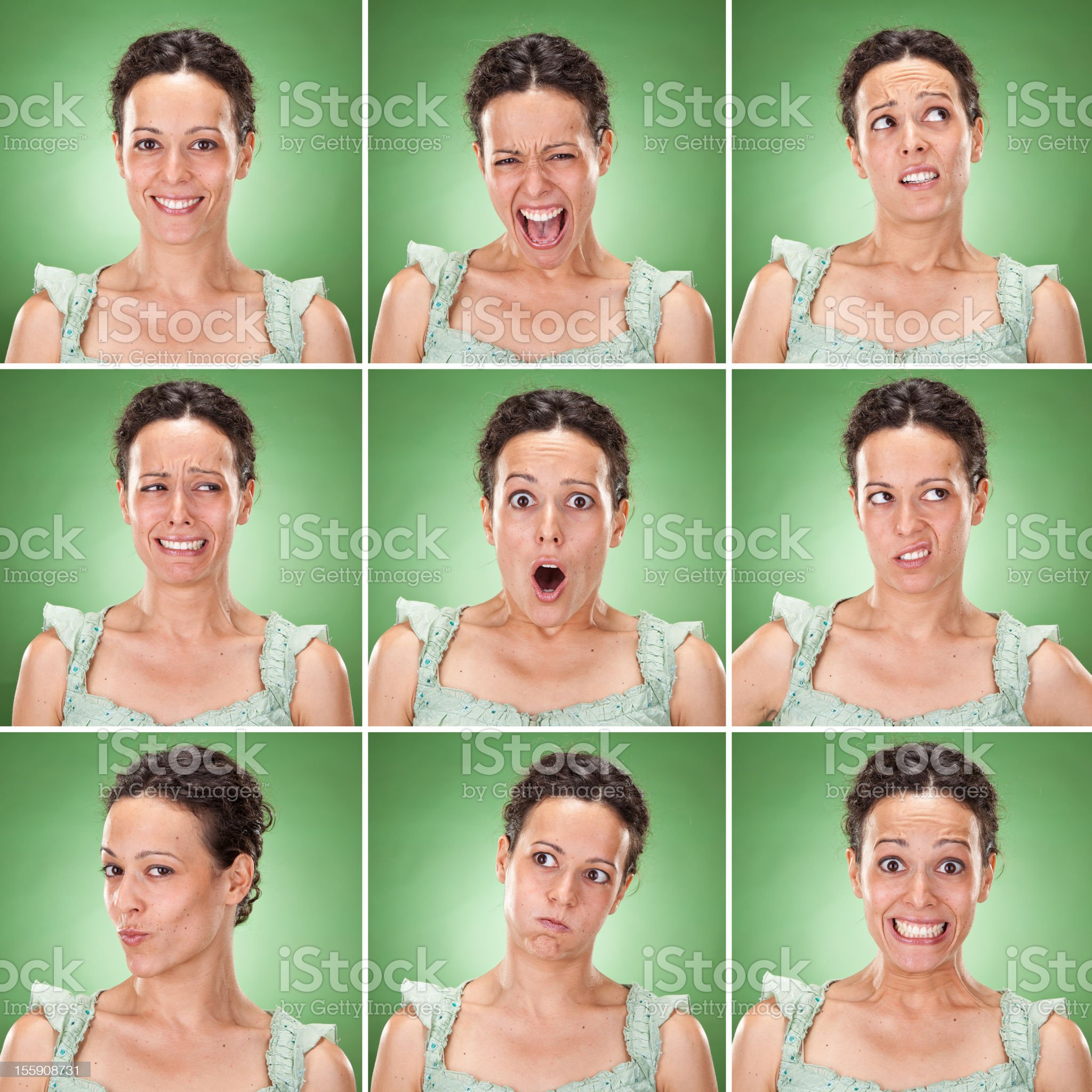 Young brunette woman casual wear multiple expression set royalty-free stock photo