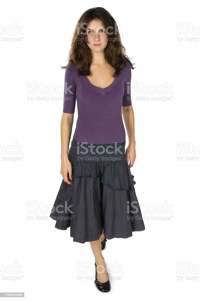 Young Brunette Woman in Skirt royalty-free stock photo