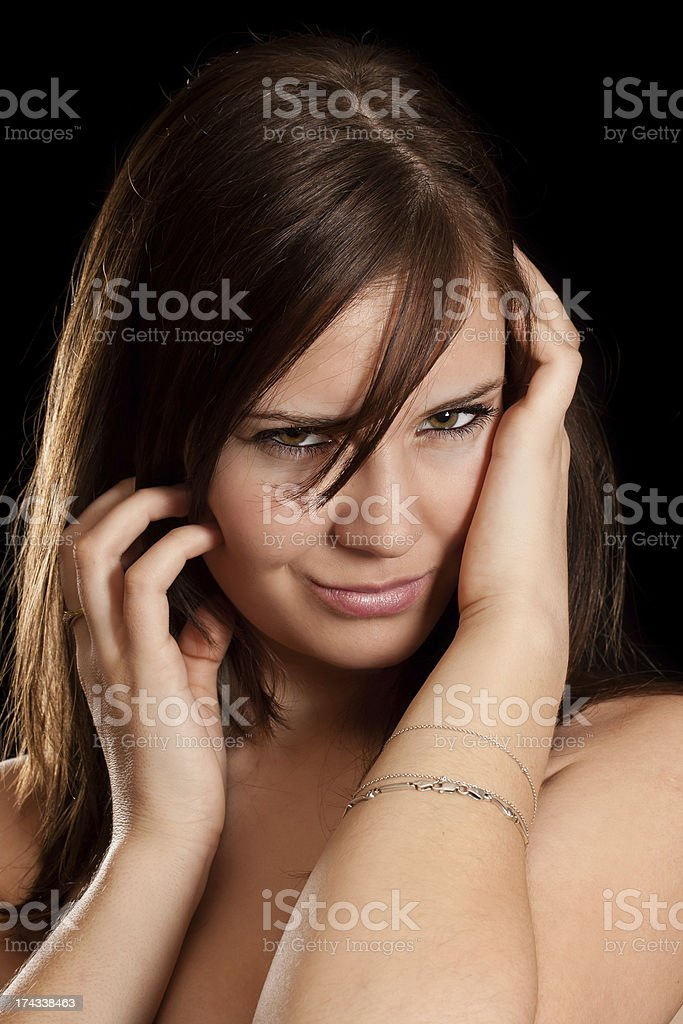 Young brunette woman portrait royalty-free stock photo