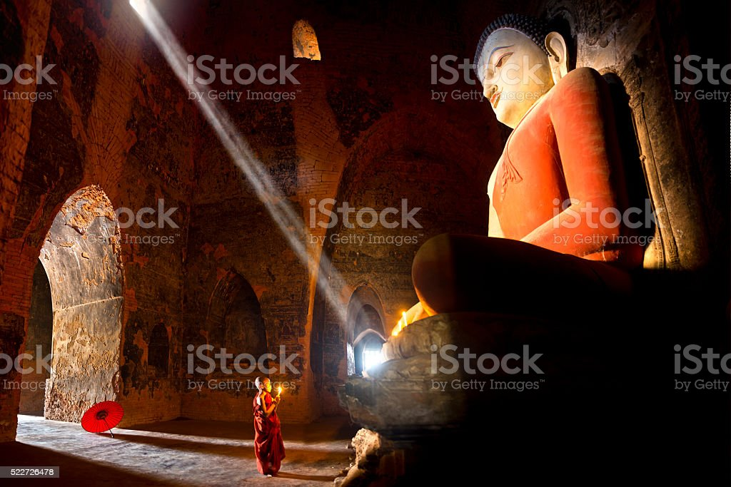 Young buddhist monk in Myanmar stock photo