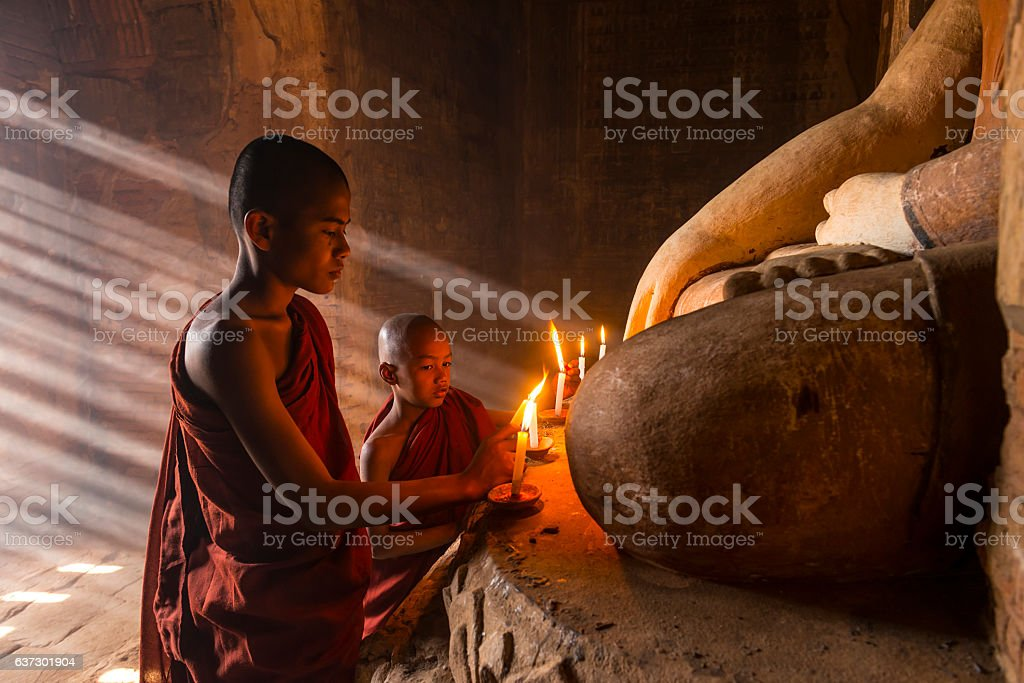 Young buddhist monks in stock photo