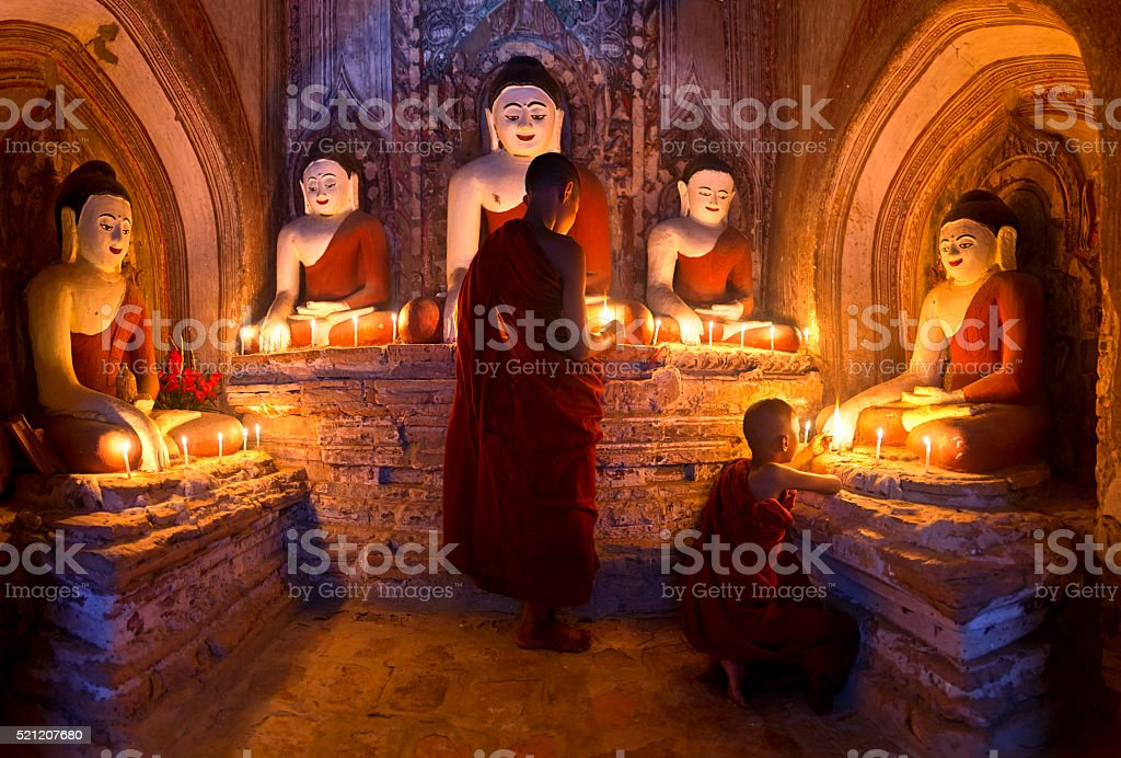 Young buddhist monks stock photo