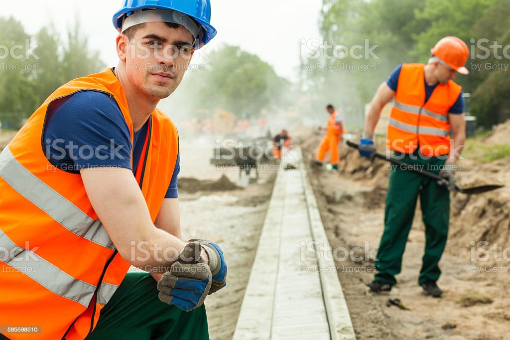 Young building worker stock photo