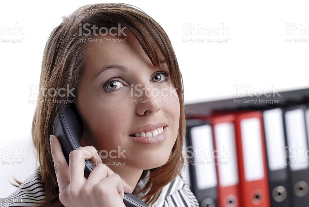 young busines woman on the phone stock photo