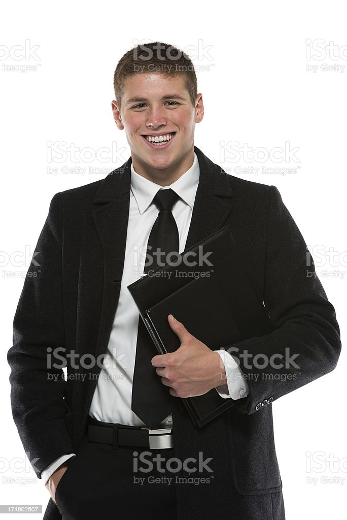 Young businesman holding files royalty-free stock photo