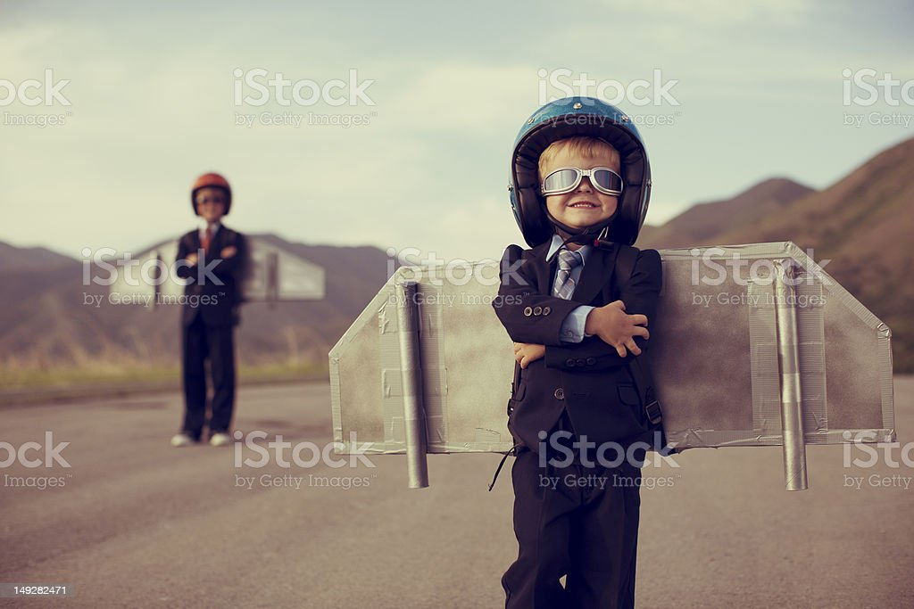 Young Business Boy Wearing Jetpack stock photo