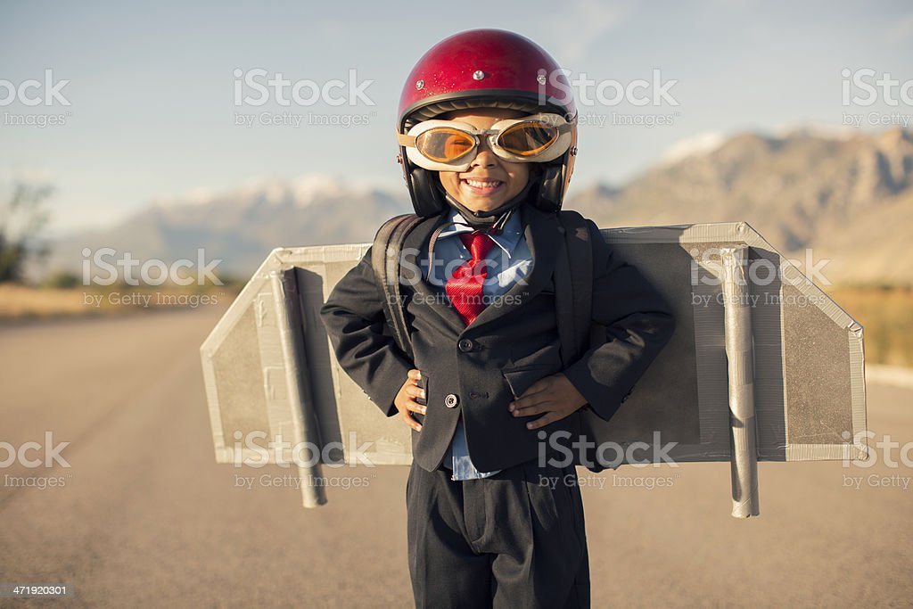 Young Business Child Wearing Jet Pack stock photo