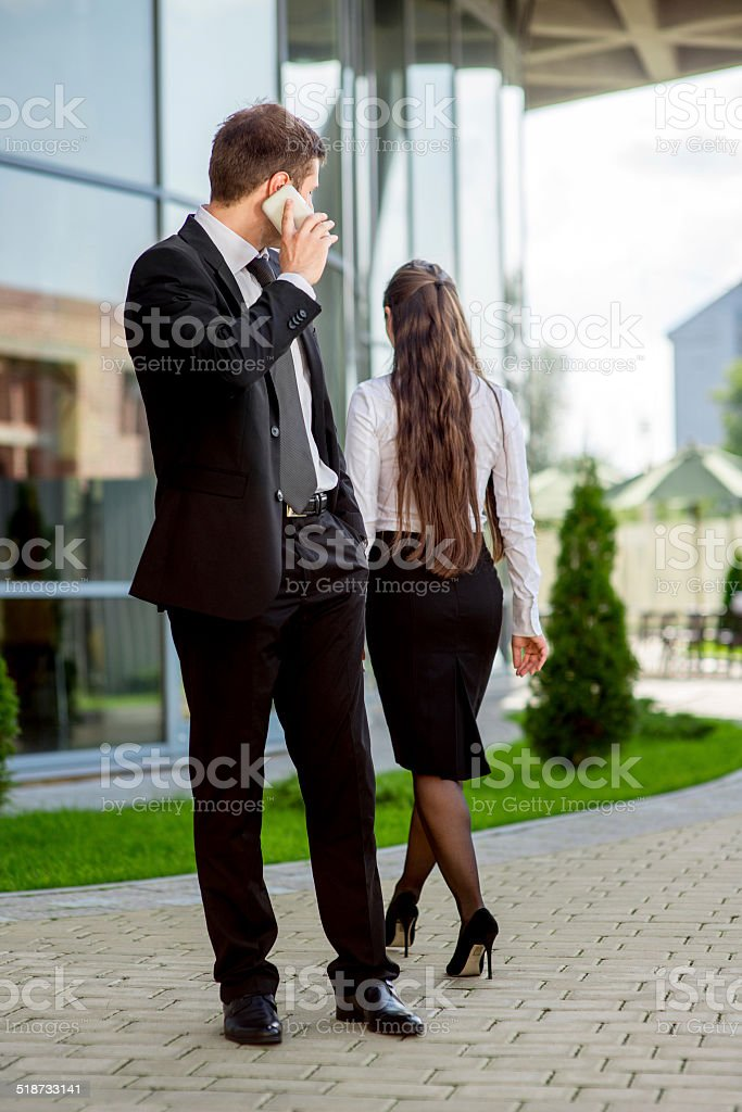 Young Business couple outdoors. stock photo