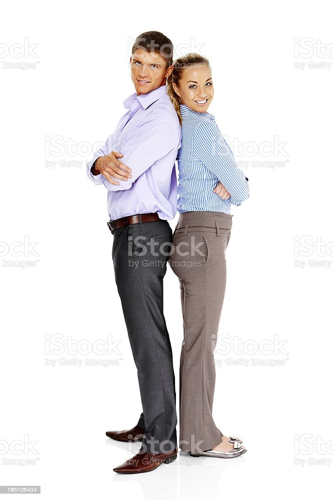 Young business couple standing together royalty-free stock photo