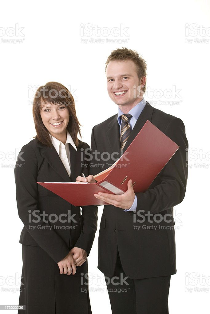 young business couple with ring binder royalty-free stock photo