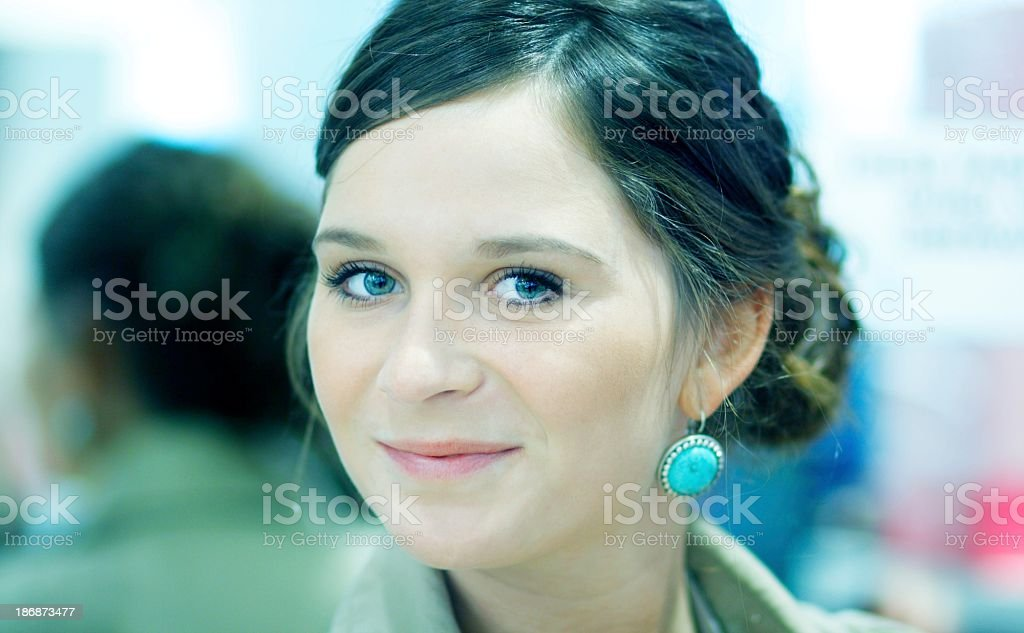 young business girl with brown hair royalty-free stock photo