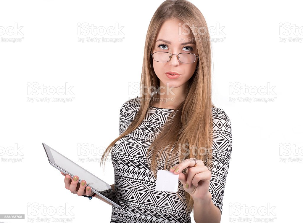 Young business lady gives business card stock photo