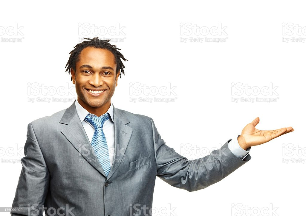 Young business man gesturing over white royalty-free stock photo