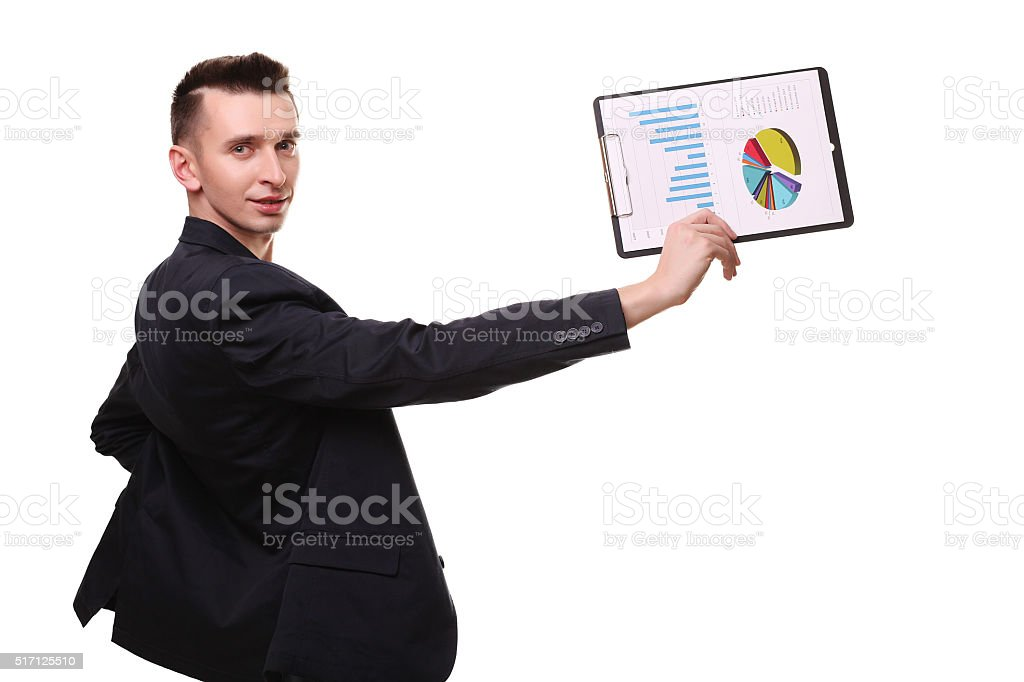 young business man happy smile, businessman in elegant suit poin royalty-free stock photo