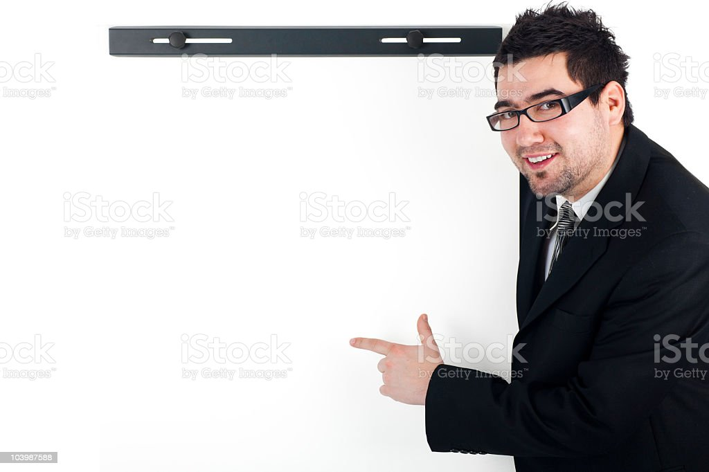 Young business man holding empty board royalty-free stock photo