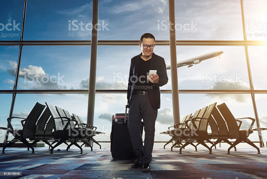 young business man in airport. stock photo