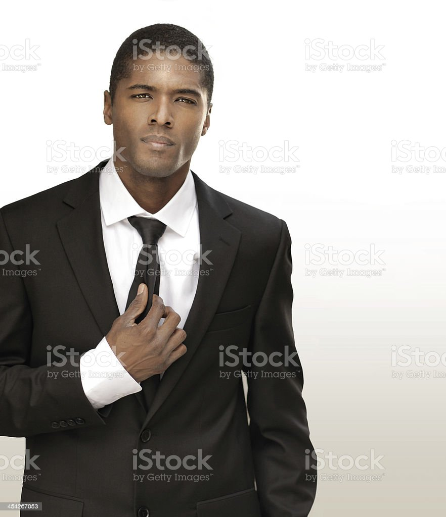 Young business man in suit stock photo