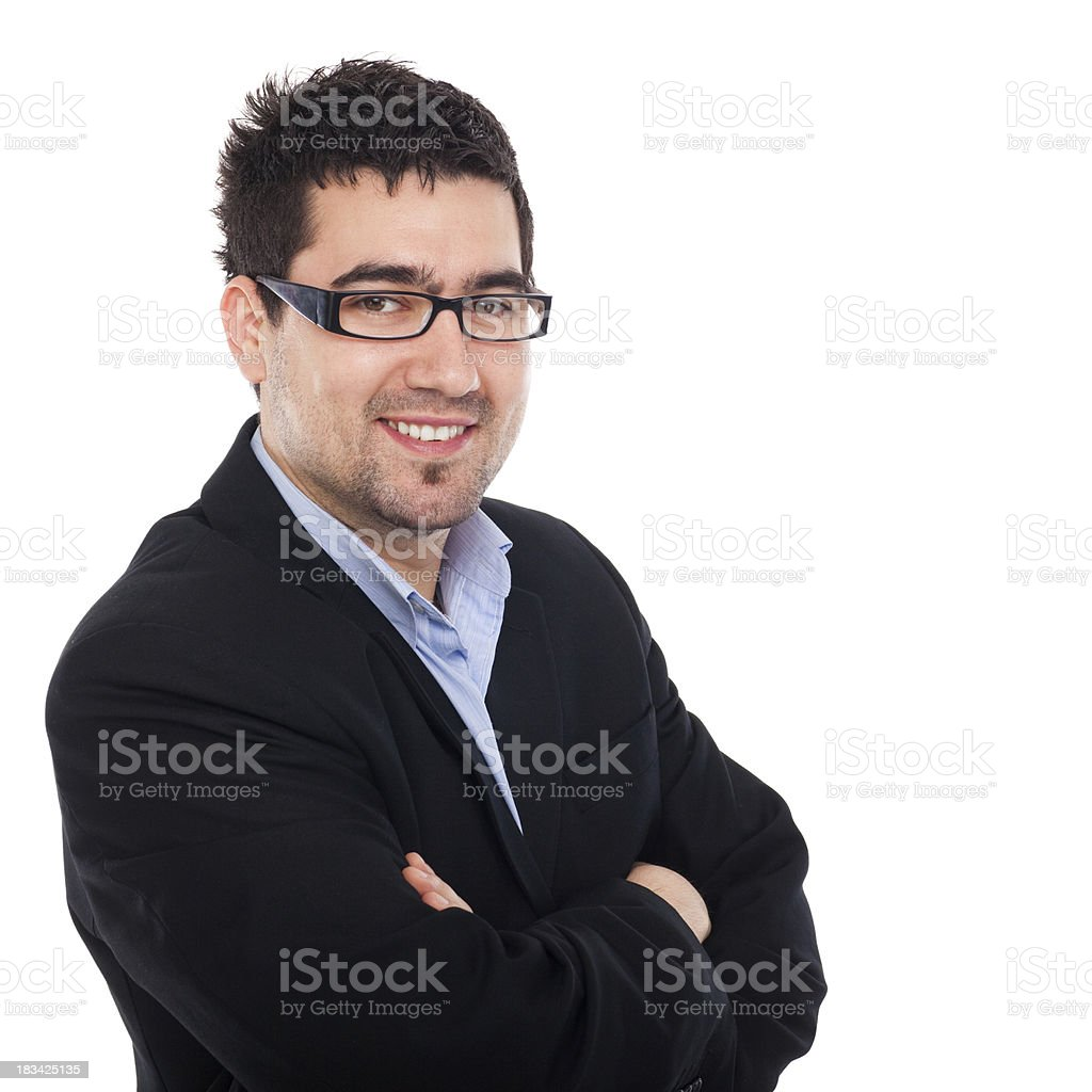 Young business man posing against white background royalty-free stock photo