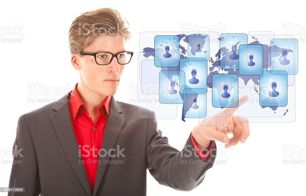 Young business man selecting virtual worldwide friends isolated stock photo