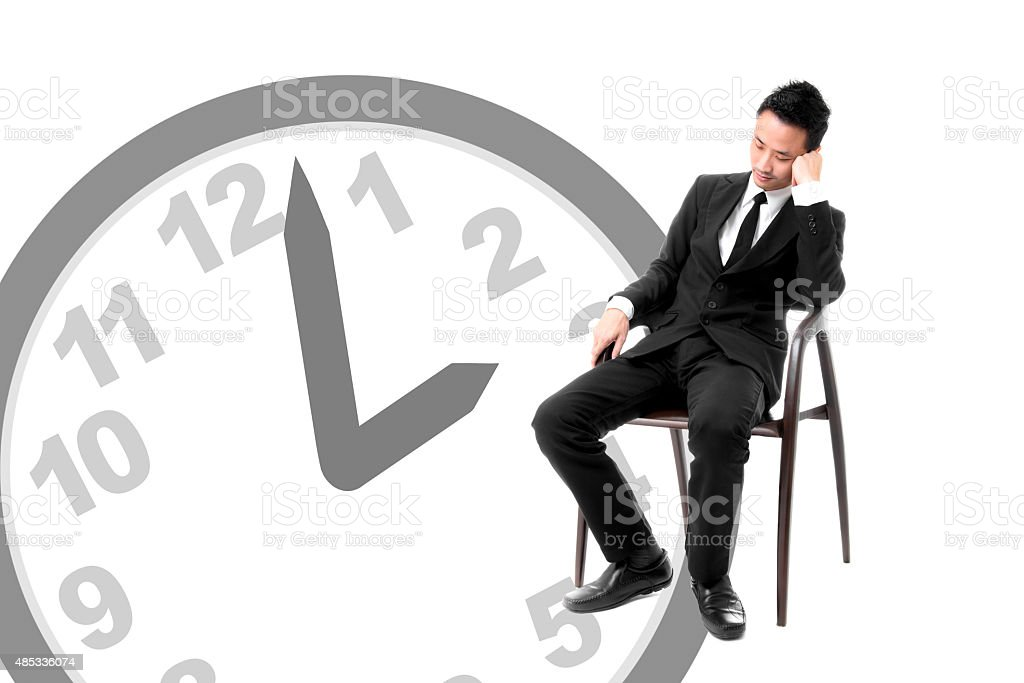 Young Business Man Sleeping On Chair In Afternoon royalty-free stock photo