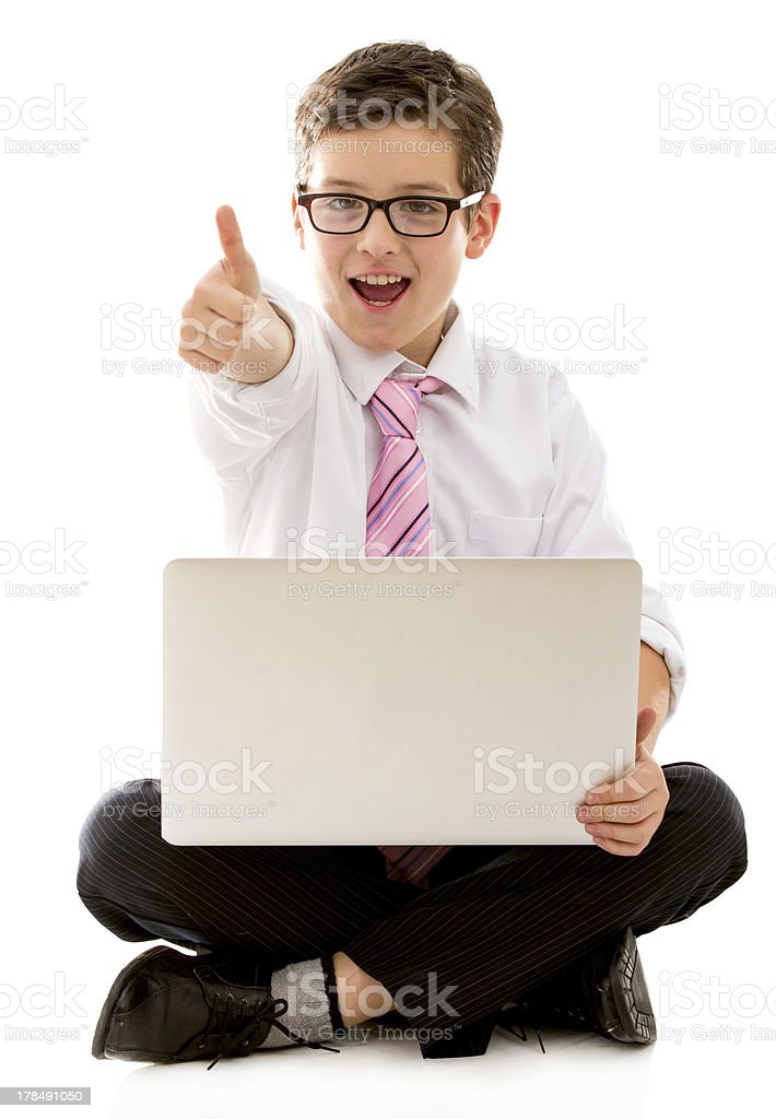 Young business man with thumbs up royalty-free stock photo