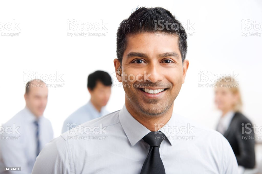 Young Business Man with Work Group royalty-free stock photo