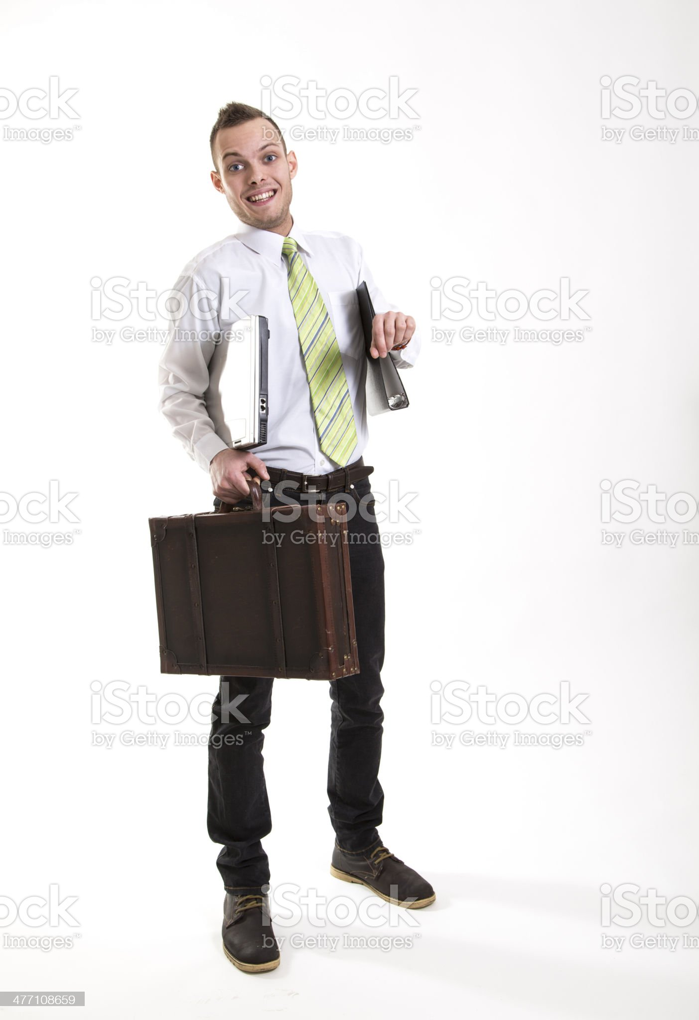 young business mann with briefcase looking his watch royalty-free stock photo