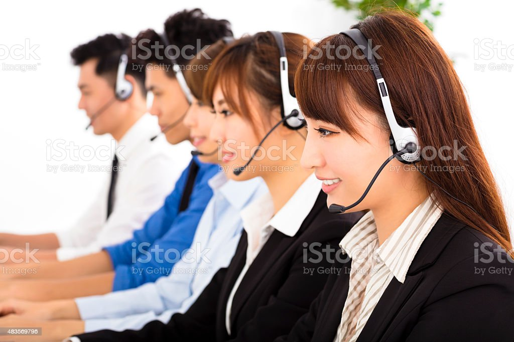 young business people and colleagues working in  call center stock photo